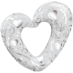 "42"" Hearts & Filigree Pearl White Foil Balloon"
